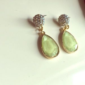 The Limited white and green drop earrings